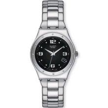 Swatch Ladies Her Tender Black Stainless Steel Bracelet Watch