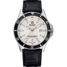 Swiss Military Men's Flagship White Dial Black Bezel & Leather Strap 6-4161.7.04.001.07 Watch