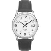Timex Mens Calendar Date Watch w/Round ST Case, White Dial & Black