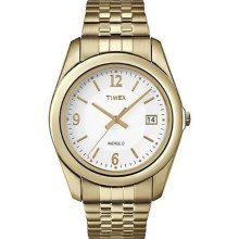 TIMEX New Analog Round Mens Watch Gold-Tone Expansion Steel Band Indiglo Quartz