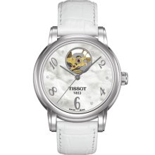 Tissot Lady Heart Auto White 35mm Watch - Mother of Pearl Dial, White Leather Strap T0502071611600 Sale Authentic