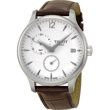 Tissot Tradition GMT White Dial Stainless Steel Brown Leather Mens Watch T0636391603700