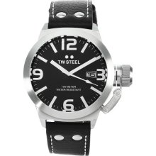 Tw Steel Unisex Quartz Watch With Black Dial Analogue Display And Black Leather Strap Tw2