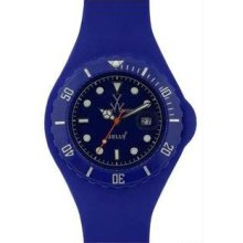 Unisex Jelly Blue Plastic Resin Case Blue Dial Silicone Strap Date
