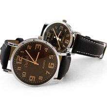 Unisex Leather Band Analog Wrist Quartz Watch With Coffee Dial (Black)