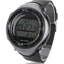 Unisex Multi-Functional Style Solar Rubber Power Digital Automatic Wrist Watch (Black)