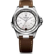 Victorinox Swiss Army Mens Night Vision Analog Stainless Watch - Brown Leather Strap - Silver Dial - 241570