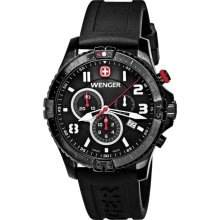 Wenger Men's 'Squadron Chrono' Black Dial Watch (Silver)