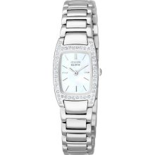 Womens Citizen Eco Drive Silhouette Crystal Watch with Swarovski Crystals in Stainless Steel (EW9620-53D)
