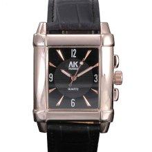 Ak-homme Rectangle Dial Black Leather Band Fashion Mens Quartz Wrist Watch