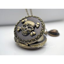 Anime One piece pocket watch necklace,Skull and Gold D Roger pirate hat pendant locet watch necklace NWHZ02