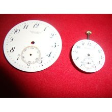 Antique 2 Porcelain Dials For Pocket Watch Tiffany&co And 1 Movement&dial