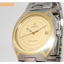 Auth Mens Omega Seamaster Gold Dial & Two Tone Wrist Watch Quartz Great