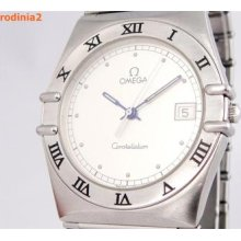 Auth Omega Mens Constellation Silver Dial Stainless Steel Quartz Watch In Great