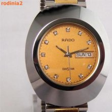 Auth Rado Mens Diastar Gold & Diamond Dial Tungsten Quartz In Mint Condition