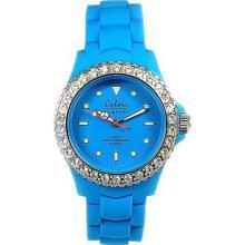 Colori Aqua 30m, Rotating Crystal Rubber Strap Bezel Ladies Watch - Gotw77