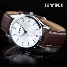 Eyki Mens Luxury Silver Case White Dial Analog Leather Quartz Wrist Watch Usts