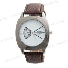 Fashion Men Women Leather Band Analog Quartz Casual Wrist Watch 8
