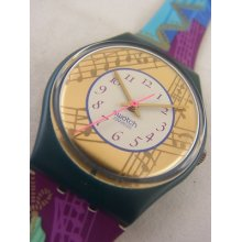 Gg119 Swatch 1992 Palco Melody Note Authentic In Box
