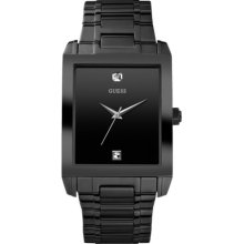GUESS Diamond Accent Black Ion Plated Stainless Steel Mens Watch U12557G1