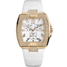 Guess Rose Gold Prism White Leather Strap Lady Men Unisex Watch U13520l1