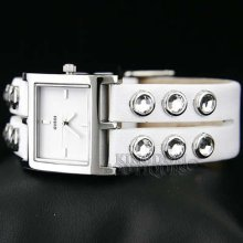 Guess Watch Ladies Studed Crystals White Leather U85120l1 Montre Uhren