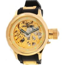 Invicta Mens Russian Diver Skeletonized Dial Gold Tone Mechanical Watch 1243