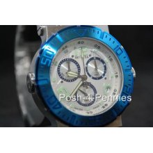 Invicta Reserve Mens Ocean Reef Swiss Quartz Chronograph Silver Blue Watch 6754