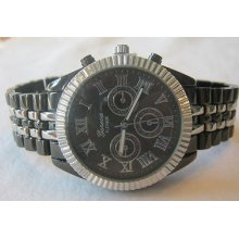 Ladies Geneva Chronograph Silver/pewter Watch +michael Kors Perfume Sample