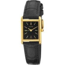 Ladies Pulsar By Seiko Quartz Ptc384 Black Dial Black Leather Watch
