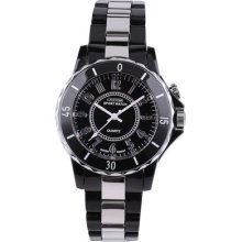Men Lady White Black Dial Waterproof Analog Quartz Sport Led Back Light Watch