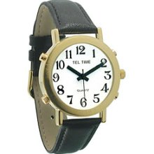 Mens Tel Time Gold Colored Talking Watch with White Dial Leather Band