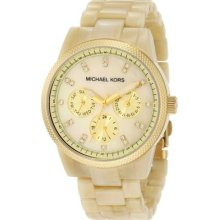 Michael Kors Mk5039 Ritz Horn Chronograph Gold Watch In Box+tag