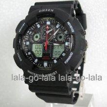 Ohsen Waterproof Black Mens Childrens Analog Digital Alarm Stop Sport Watch