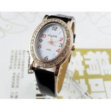 Oval Rhinestone Black Women's Casual Dial Quartz Wrist Watches Hour Clock A956