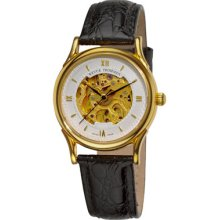 Revue Thommen Watches Women's Skeleton Dial Goldtone Case Leather Stra