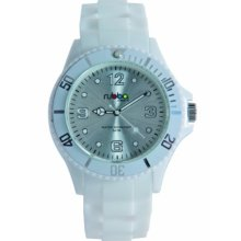 Rubba Unisex Quartz Watch With White Dial Analogue Display And White Silicone Strap R205-42Wh