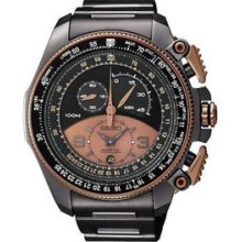 Seiko Kinetic Super Black Steel Rose Gold Watch Limited Edition