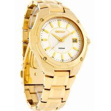 Seiko Quartz Mens Silver Dial Gold Tone Stainless Steel Dress Watch SGEE62 New