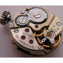 Used Lady Movado 7 17j. Complete Watch Movement & Dial For Parts