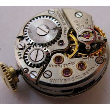 Used Lady Universal 541 17j. Complete Watch Movement & Dial For Parts
