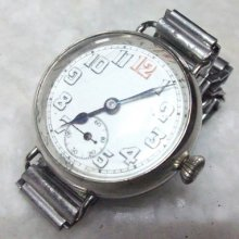 Vintage Antique West End Wrist Watch Swiss Made Porcelain Dial 30 Mm Dial