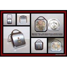 Vintage BREVETE Swiss Jump Hour Pocket Watch - 1920's Art Deco Era Original - RARE Fold Out Stand - Digital - Mechanical Movement -Runs Good