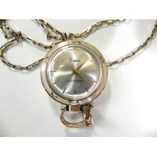 Vintage Gold swiss Watch Pendant Necklace by Sheffield On Gold P Sterling Chain