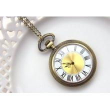 Vintage Style Antique Brass Pocket Watch, Victorian Clock, Gold Pocketwatch, Necklace Working Clock (PW27)