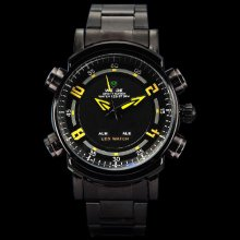 Weide Mens Fashion Black w/ Yellow Hand Stainless LED Japan Quartz Watch W0031 - Silver - Other