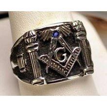 Authentic Sterling Silver Sapphire Masonic Ring Freemason Je