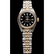 Black stick dial lady rolex datejust watch jubilee bracelet SS & pink gold - Black - Metal