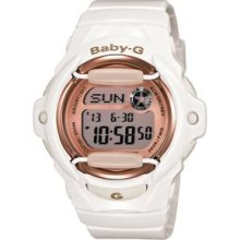 Casio Baby-g Bg169g-7 White Resin Band Pink Dial Digital World Time Watch Gift