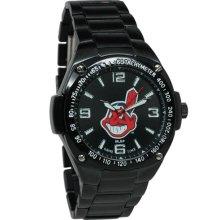 Cleveland Indian watch : Cleveland Indians Stainless Steel Warrior Watch - Black